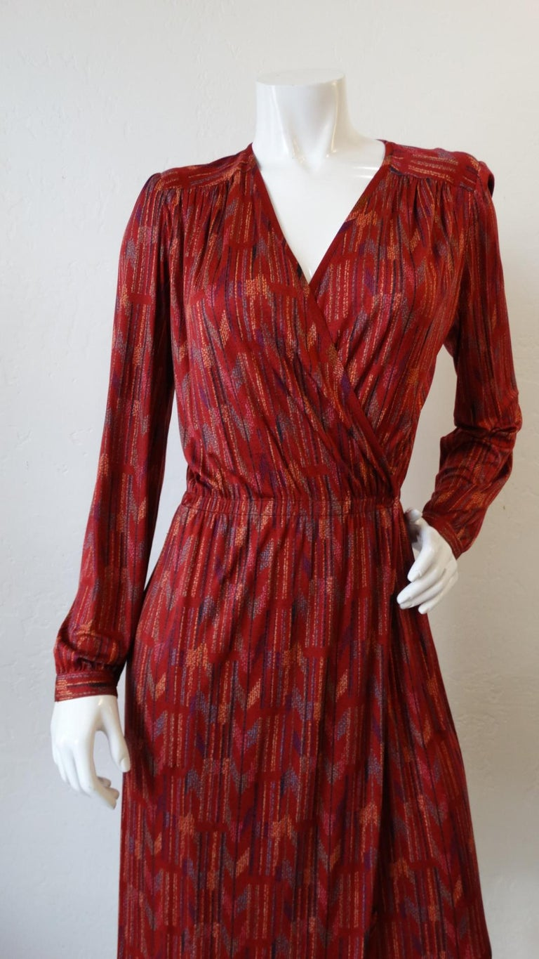 1970s Missoni Silk Wrap Dress with Rope Belt For Sale 2
