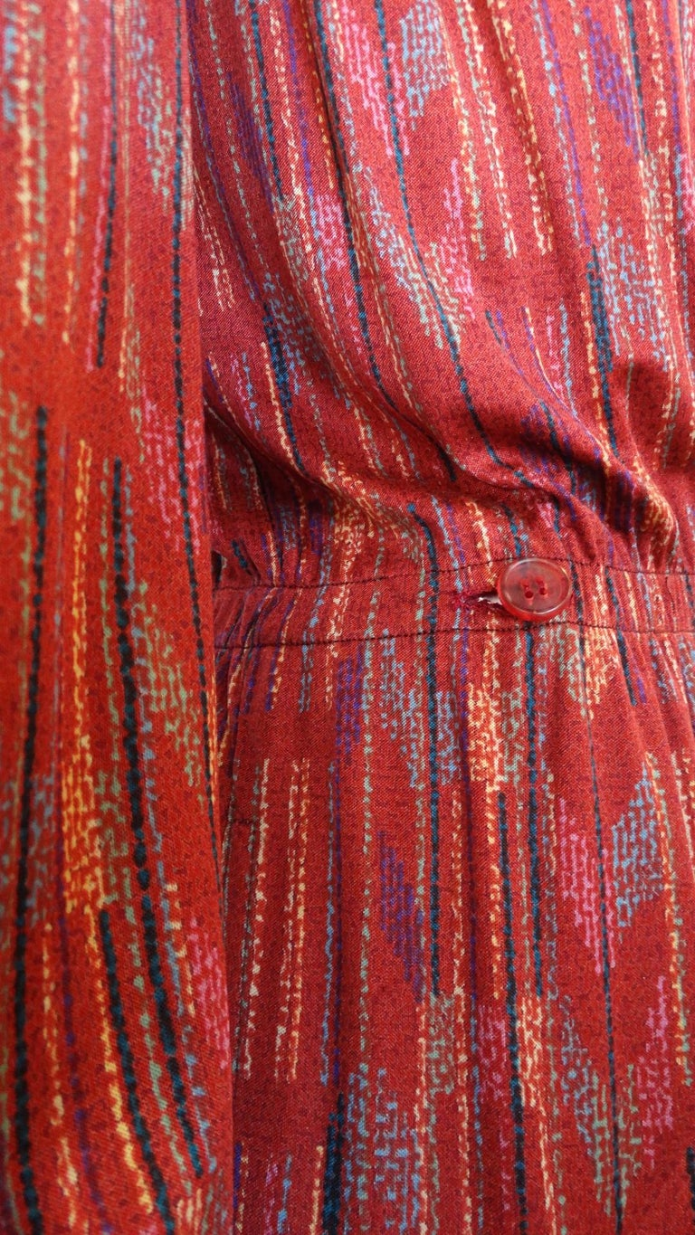 1970s Missoni Silk Wrap Dress with Rope Belt For Sale 3