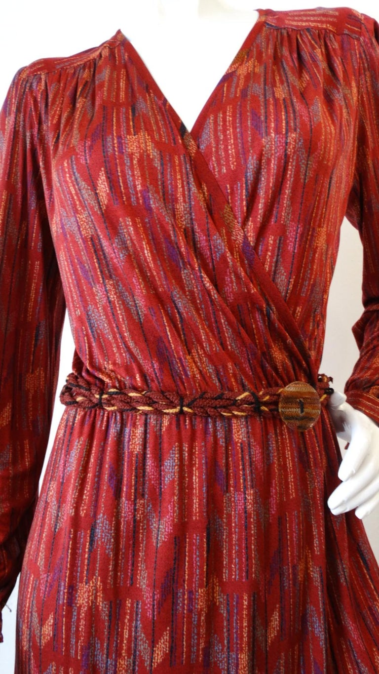 1970s Missoni Silk Wrap Dress with Rope Belt For Sale 7