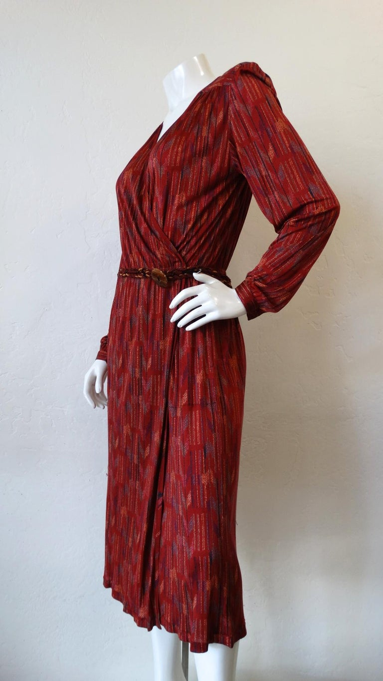 1970s Missoni Silk Wrap Dress with Rope Belt For Sale 8