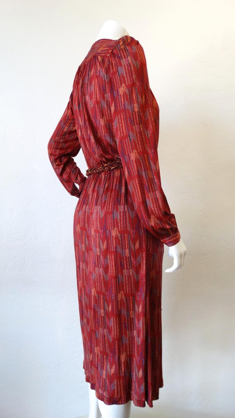 1970s Missoni Silk Wrap Dress with Rope Belt For Sale 5