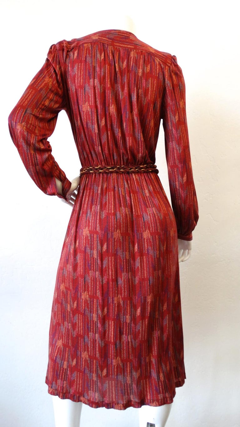 1970s Missoni Silk Wrap Dress with Rope Belt For Sale 10
