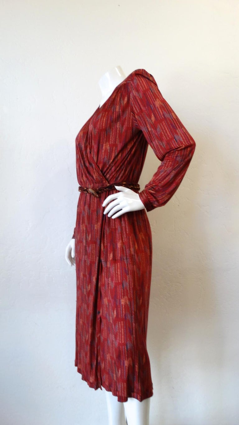 Women's 1970s Missoni Silk Wrap Dress with Rope Belt For Sale