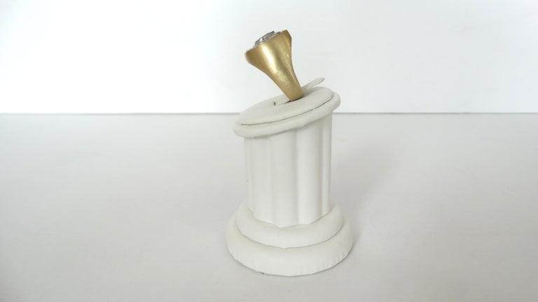 Men's 14k Gold White Diamond and Sapphire Horseshoe Mens Ring For Sale