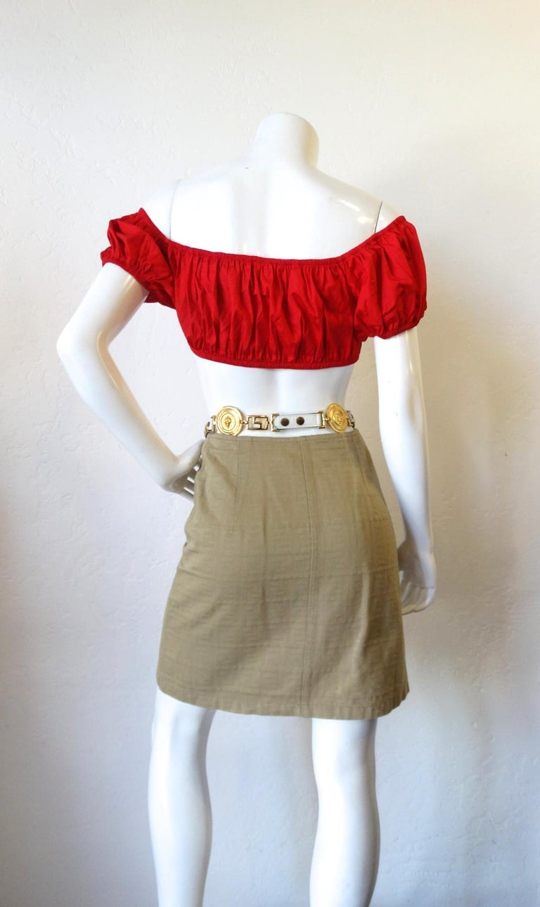 1980s Yves Saint Laurent Red Peasant Style Crop Top  For Sale 1
