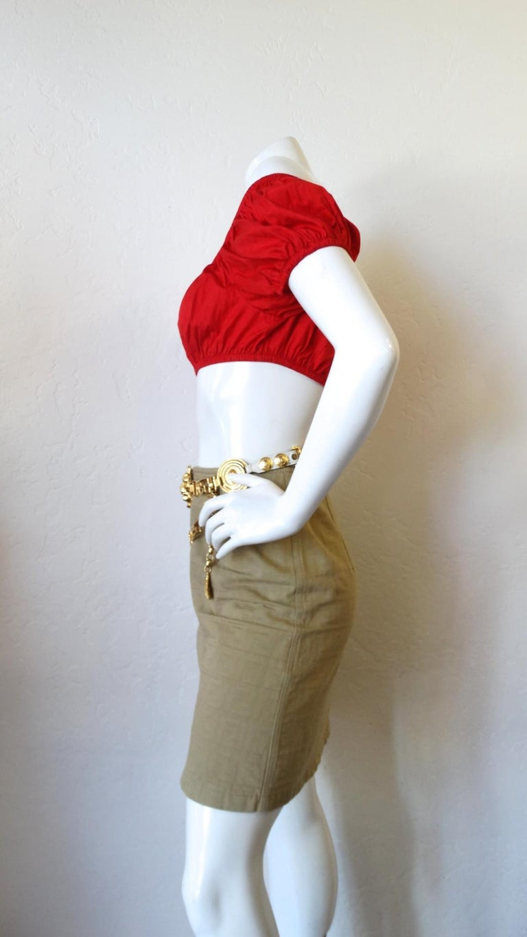 1980s Yves Saint Laurent Red Peasant Style Crop Top  For Sale 3