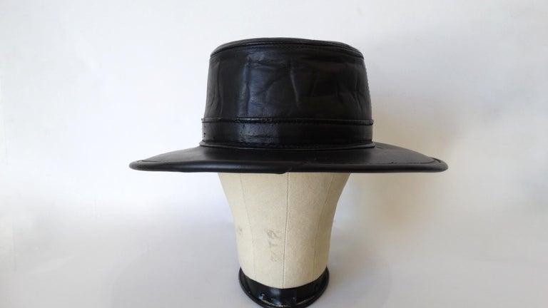 Henschel Black Genuine Leather Wide Brim Boater Hat For Sale 3