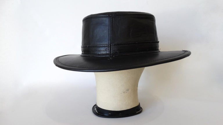 Women's or Men's Henschel Black Genuine Leather Wide Brim Boater Hat For Sale