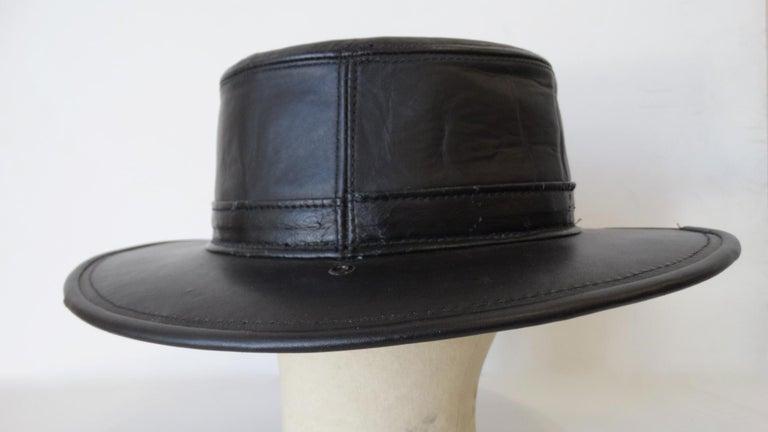 Henschel Black Genuine Leather Wide Brim Boater Hat For Sale 1