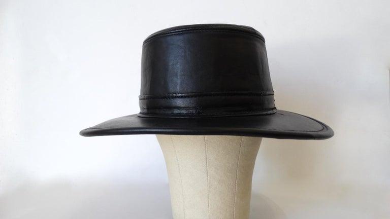 Henschel Black Genuine Leather Wide Brim Boater Hat For Sale 6