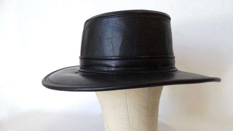 Henschel Black Genuine Leather Wide Brim Boater Hat For Sale 4