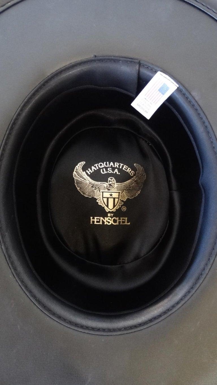 Henschel Black Genuine Leather Wide Brim Boater Hat For Sale 2