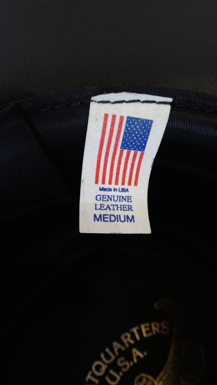 Henschel Black Genuine Leather Wide Brim Boater Hat For Sale 5