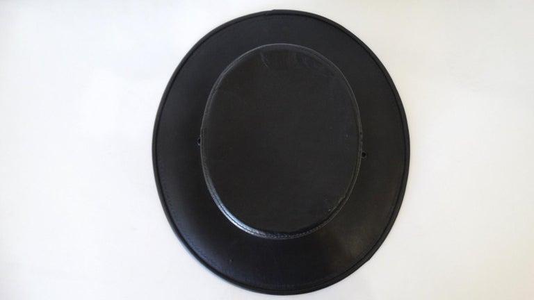 Henschel Black Genuine Leather Wide Brim Boater Hat For Sale 7