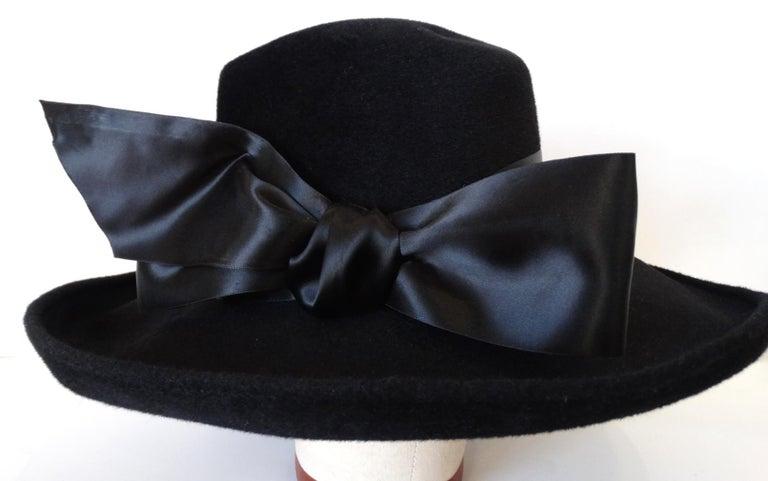 1960s Leslie James Genuine Black Velour Wide Brim Bowler Hat For Sale 1