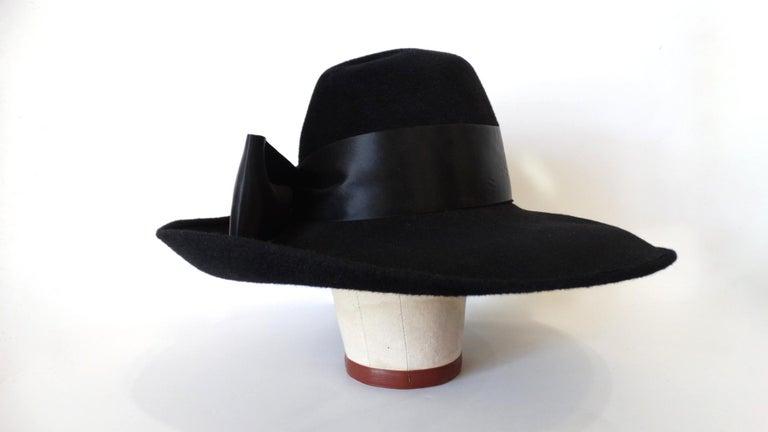 Women's or Men's 1960s Leslie James Genuine Black Velour Wide Brim Bowler Hat For Sale