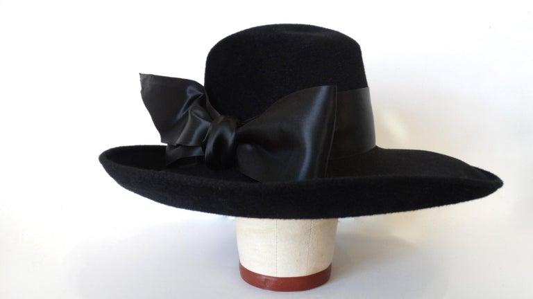 1960s Leslie James Genuine Black Velour Wide Brim Bowler Hat For Sale 3