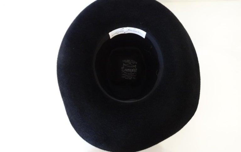 1960s Leslie James Genuine Black Velour Wide Brim Bowler Hat For Sale 2