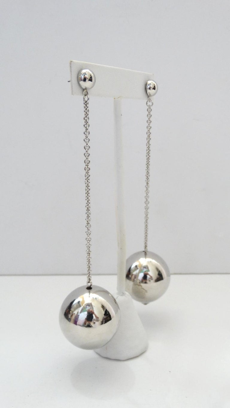 Women's or Men's Sassy Silver Plated Ball Drop Earrings  For Sale