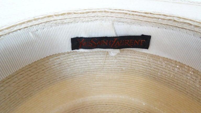 1970s Yves Saint Laurent Square Brim Boater Hat For Sale 2