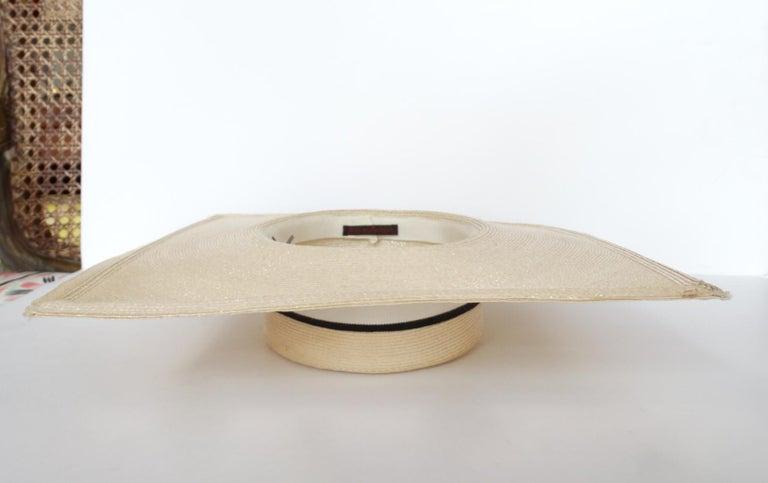 1970s Yves Saint Laurent Square Brim Boater Hat For Sale 1