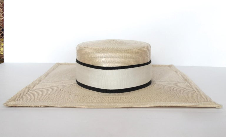 Women's or Men's 1970s Yves Saint Laurent Square Brim Boater Hat For Sale