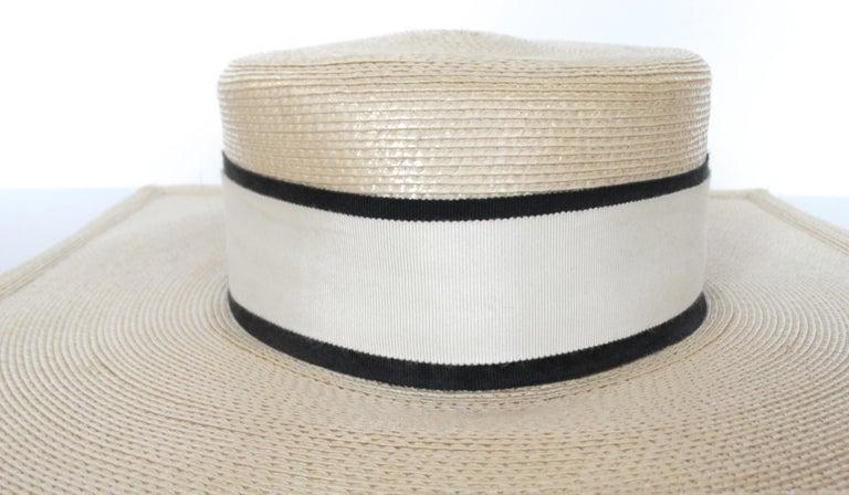 1970s Yves Saint Laurent Square Brim Boater Hat For Sale 8