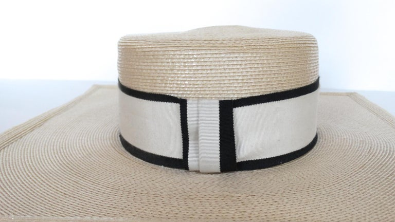 1970s Yves Saint Laurent Square Brim Boater Hat For Sale 4
