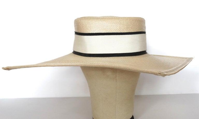 1970s Yves Saint Laurent Square Brim Boater Hat For Sale 10