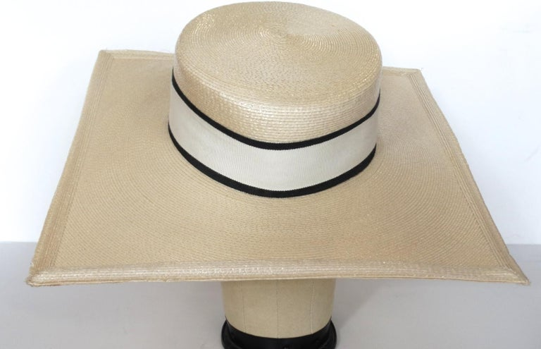 1970s Yves Saint Laurent Square Brim Boater Hat In Good Condition For Sale In Scottsdale, AZ