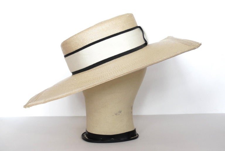 1970s Yves Saint Laurent Square Brim Boater Hat For Sale 7