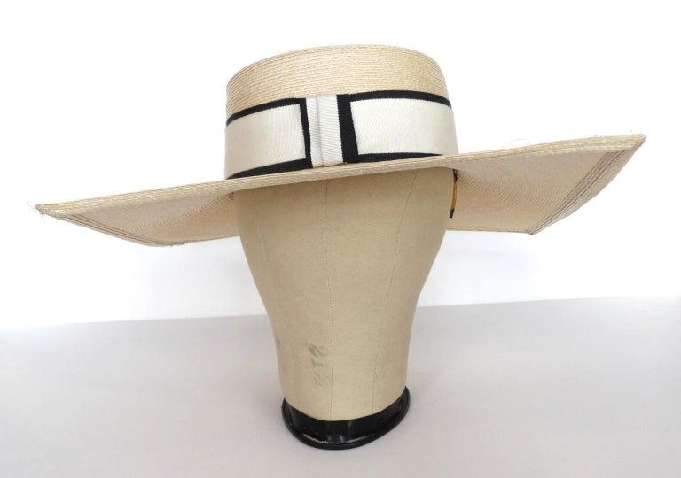 1970s Yves Saint Laurent Square Brim Boater Hat For Sale 5