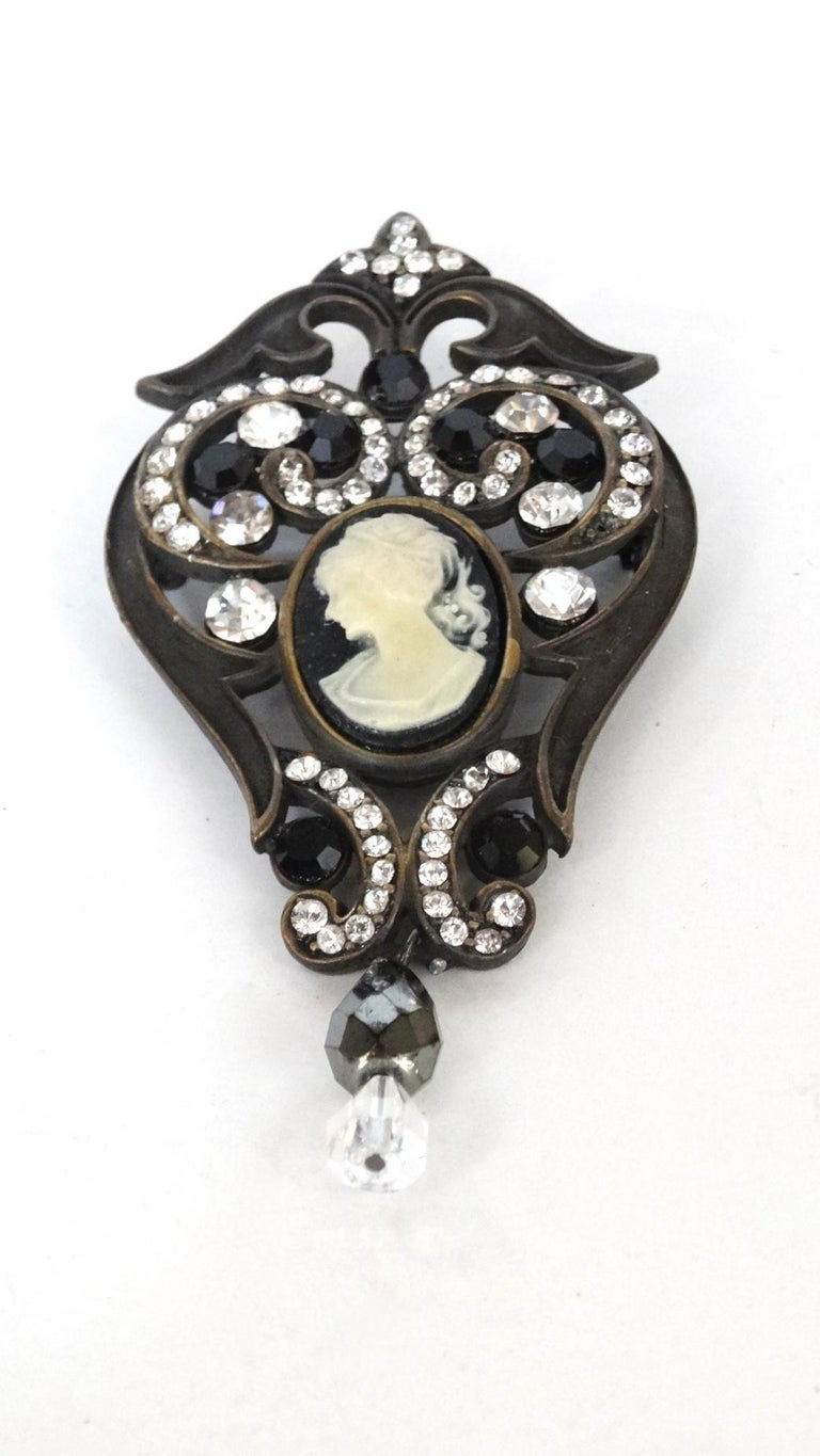 Crystal Encrusted Victorian Style Brooch  For Sale 1