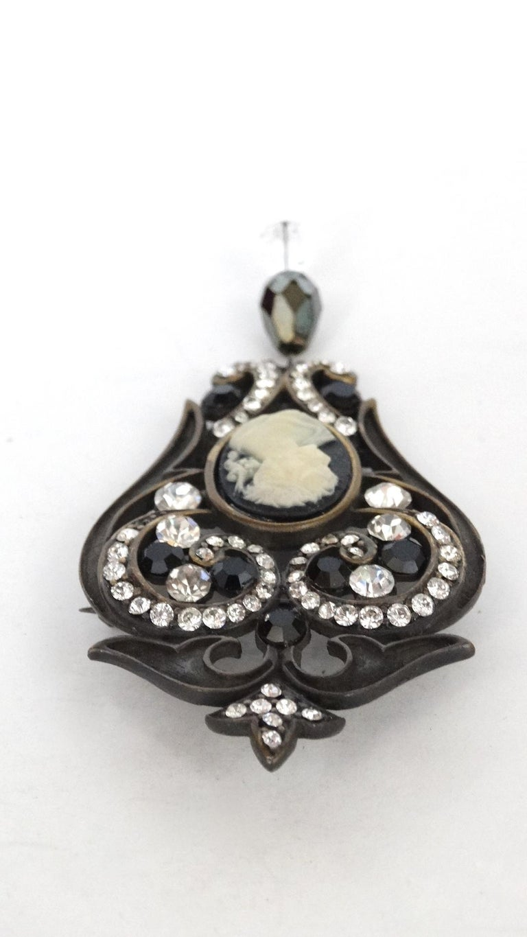 Crystal Encrusted Victorian Style Brooch  In Good Condition For Sale In Scottsdale, AZ