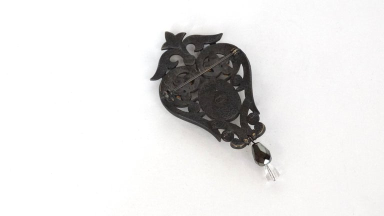 Women's or Men's  Crystal Encrusted Victorian Style Brooch  For Sale