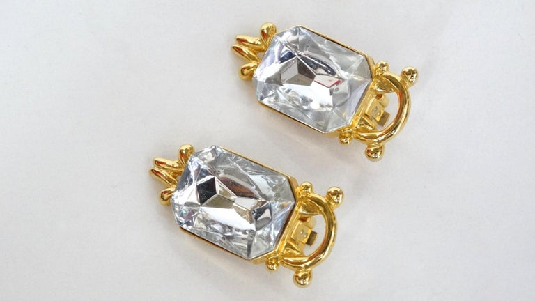 1980s Paolo Gucci Large Crystal Clip-on Earrings  For Sale 2