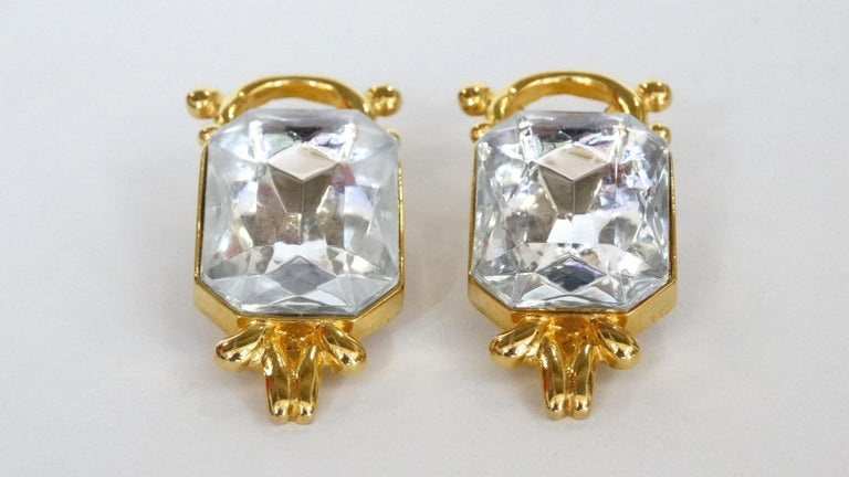 Women's or Men's 1980s Paolo Gucci Large Crystal Clip-on Earrings  For Sale