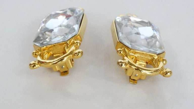 1980s Paolo Gucci Large Crystal Clip-on Earrings  For Sale 1