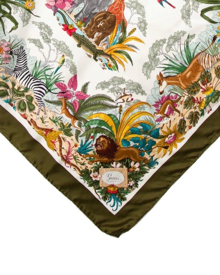 Gucci 1970s V.Accornero Jungle Print Scarf In Good Condition For Sale In Scottsdale, AZ