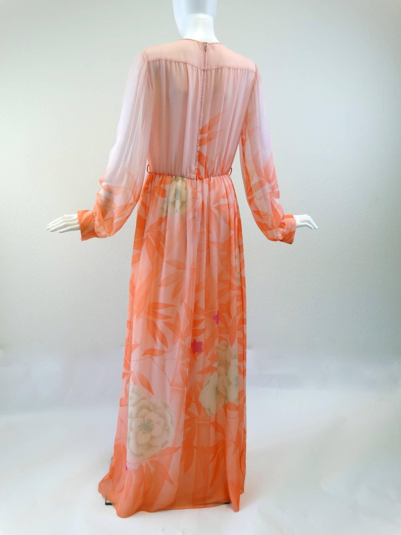 1980s Hanae Mori Floral Silk Chiffon Dress 9