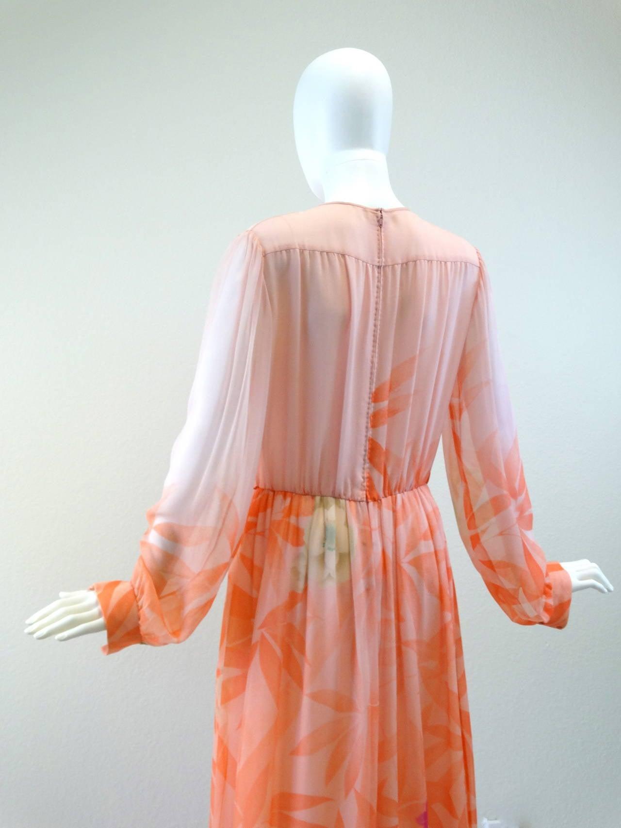 1980s Hanae Mori Floral Silk Chiffon Dress 8