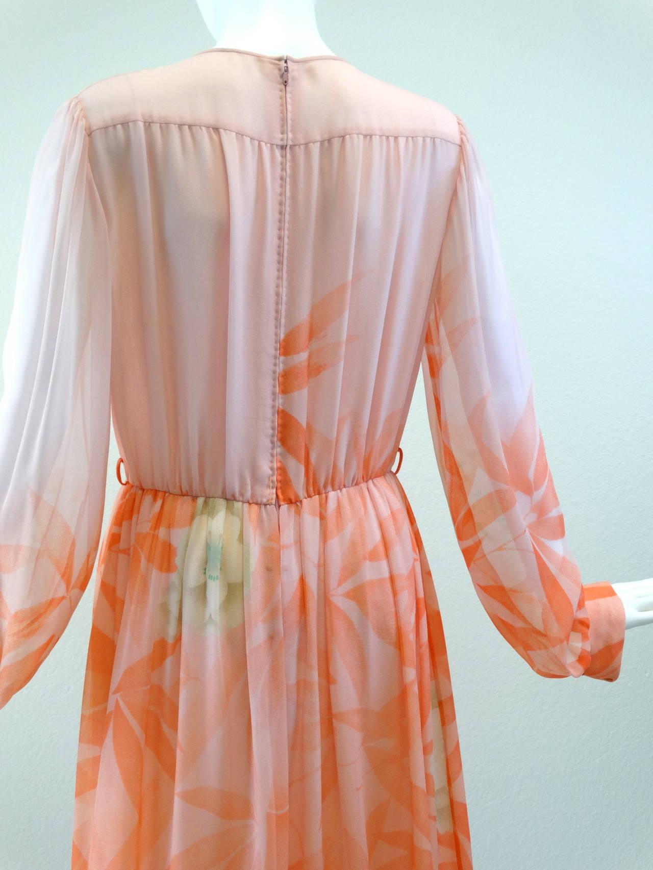 1980s Hanae Mori Floral Silk Chiffon Dress 10
