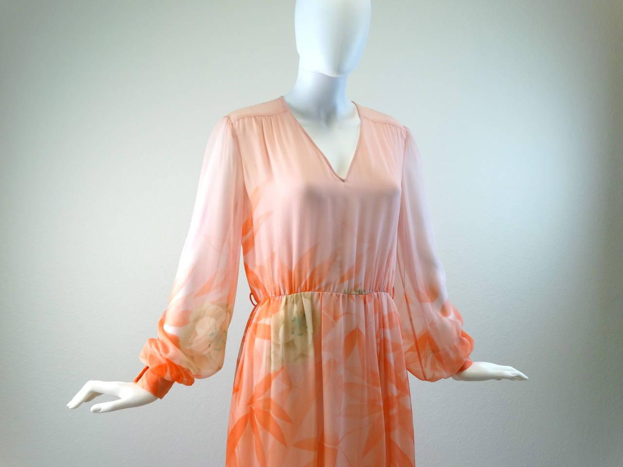 1980s Hanae Mori Floral Silk Chiffon Dress 2