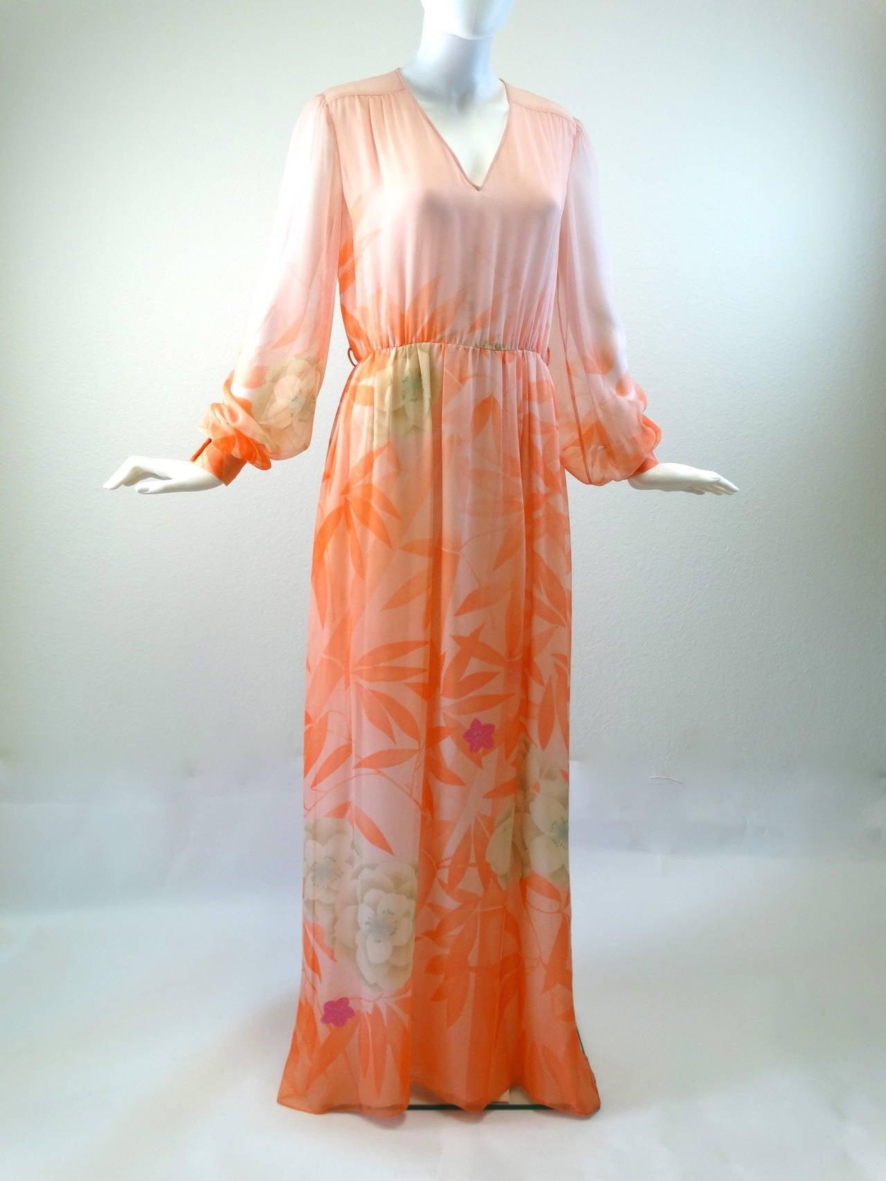 1980s Hanae Mori Floral Silk Chiffon Dress 4