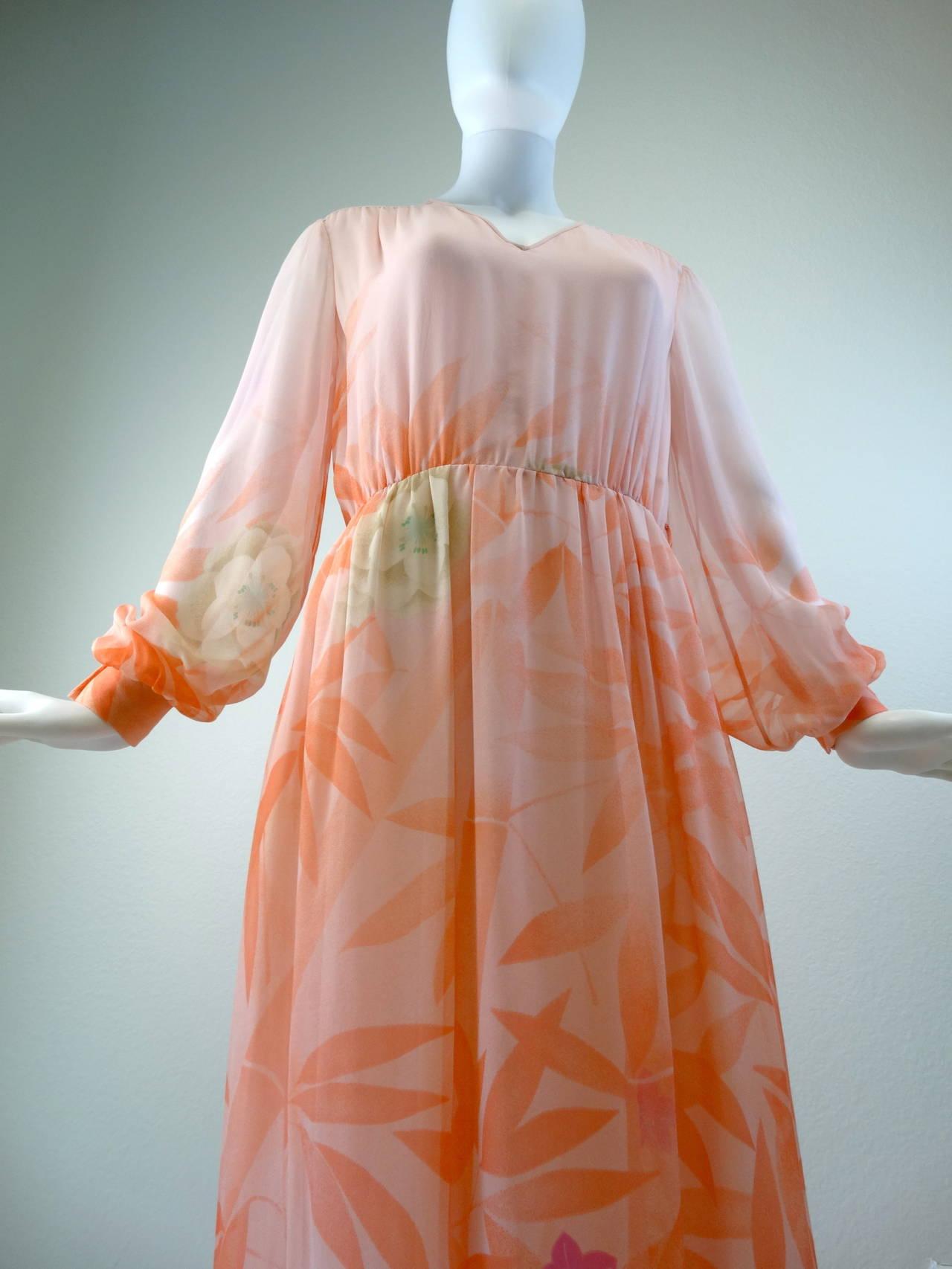 1980s Hanae Mori Floral Silk Chiffon Dress 3