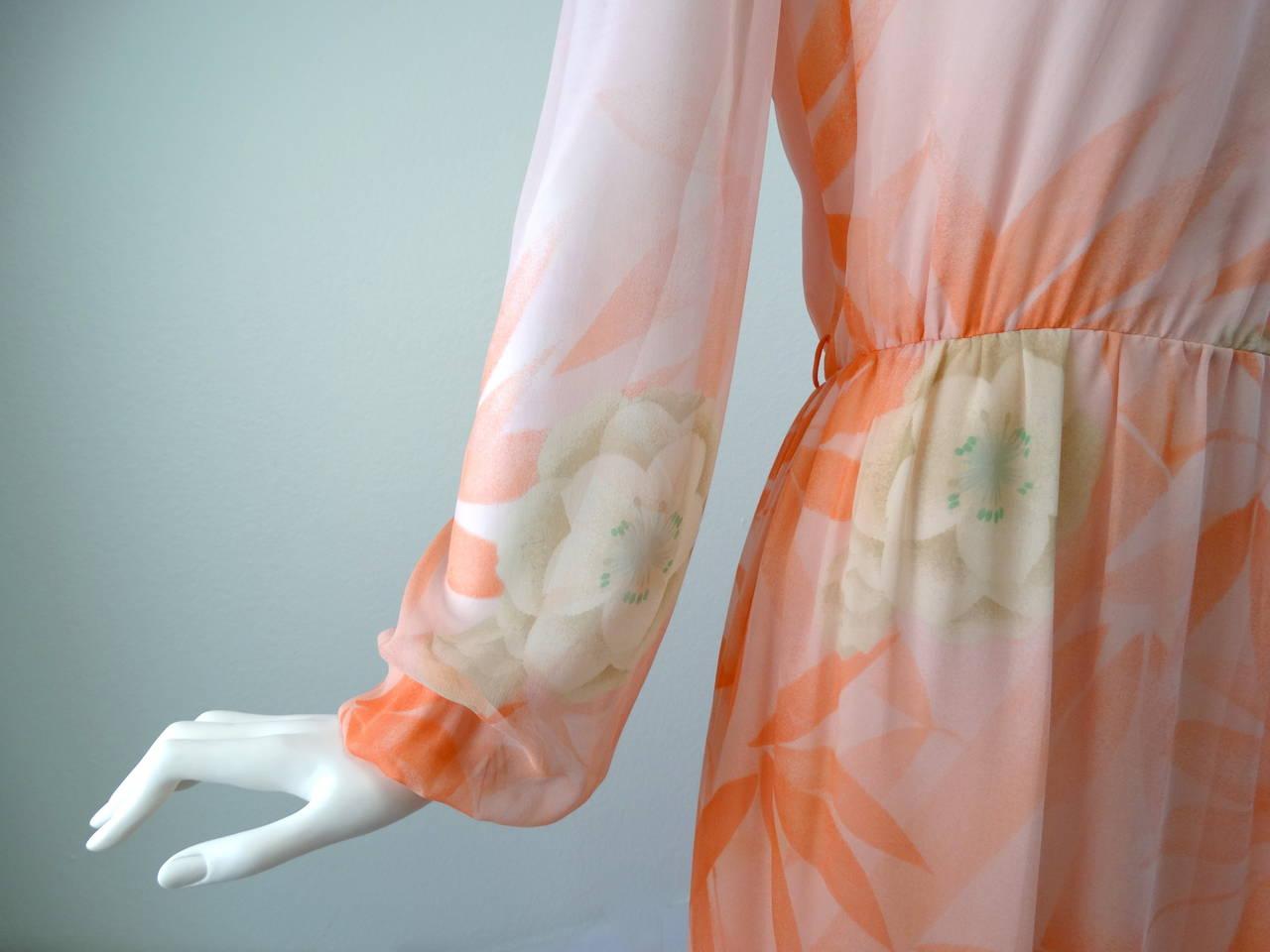 1980s Hanae Mori Floral Silk Chiffon Dress 5