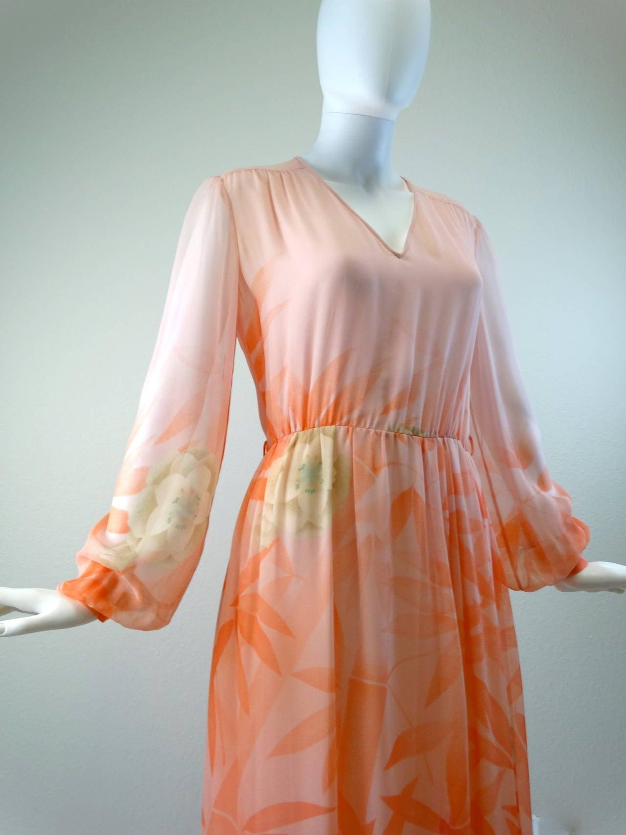 1980s Hanae Mori Floral Silk Chiffon Dress 7