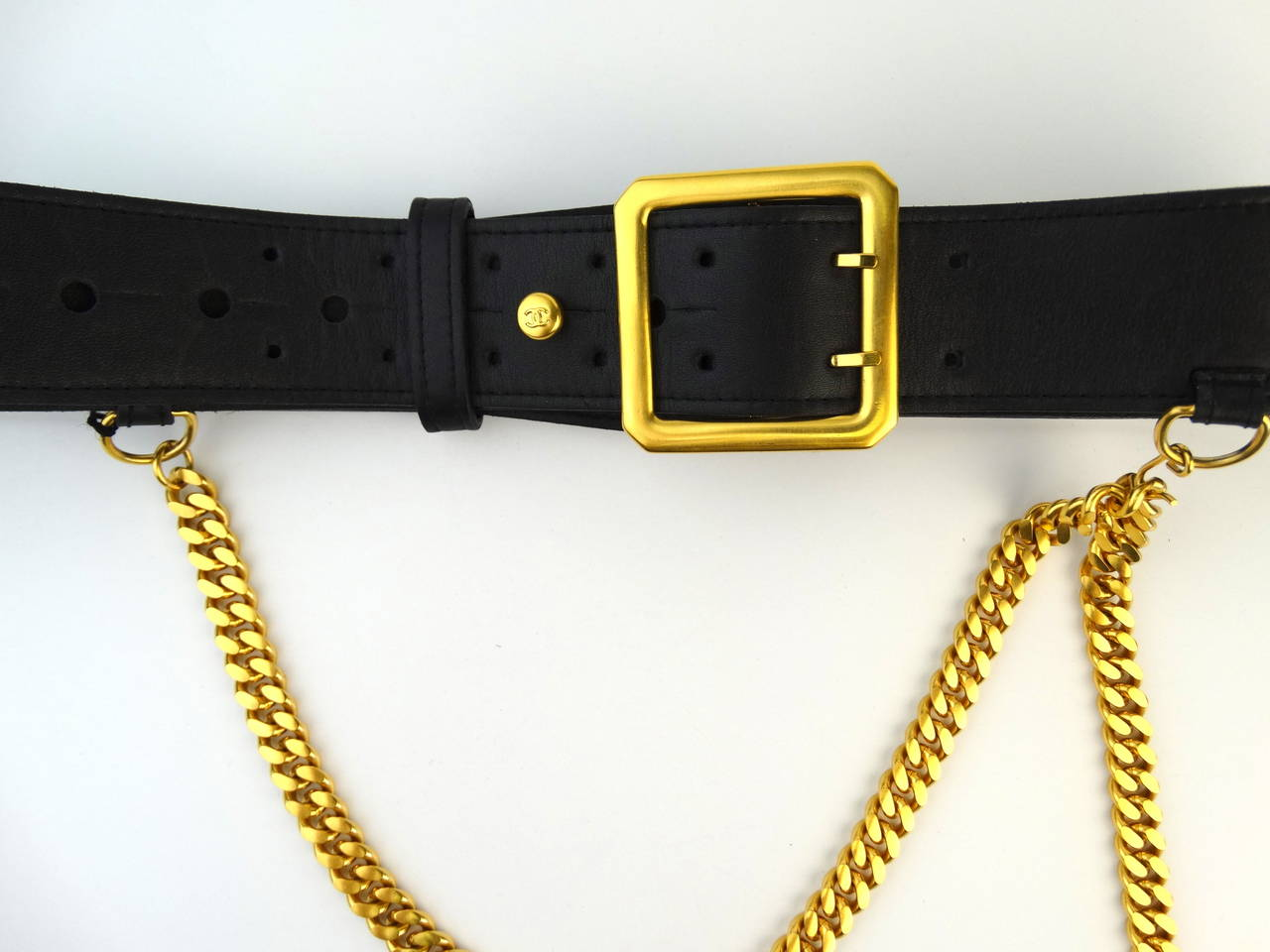 1996 Black Leather Chanel Belt with Gold Chain 3