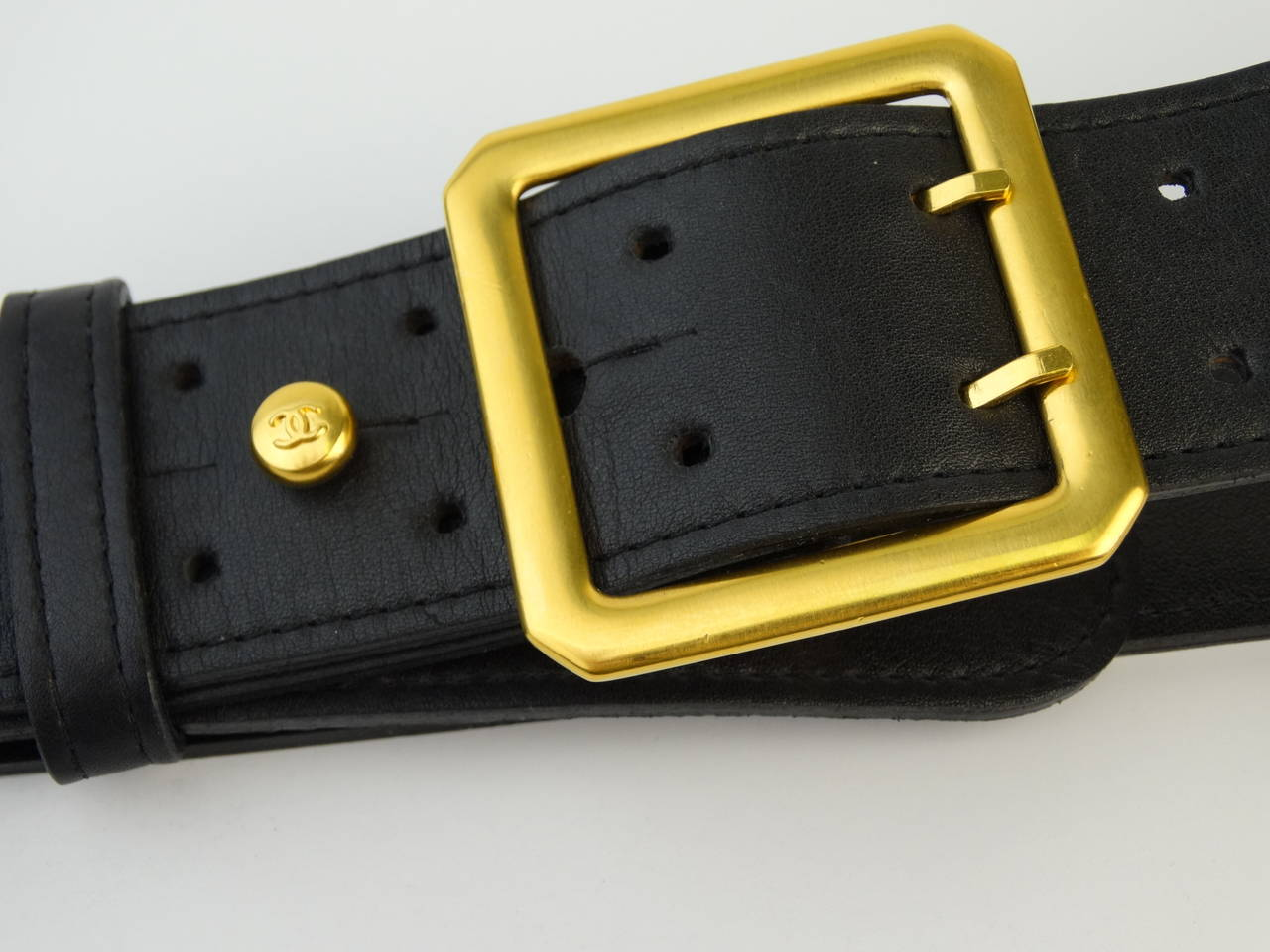 1996 Black Leather Chanel Belt with Gold Chain 2