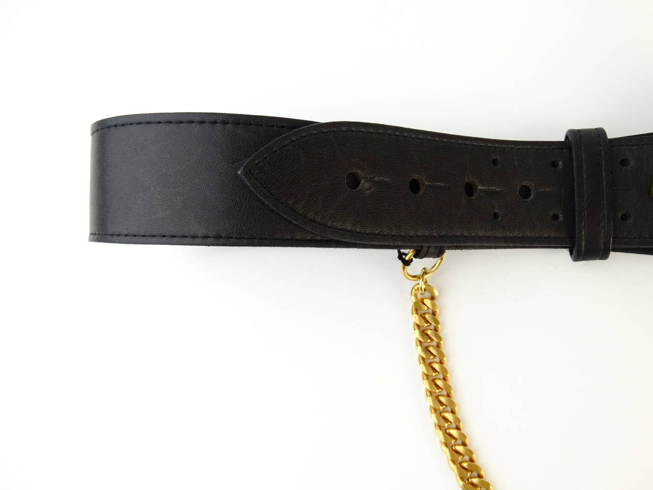 1996 Black Leather Chanel Belt with Gold Chain 8